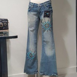 💥Vintage 70s Turquoise Studded Patchwork Jeans💥